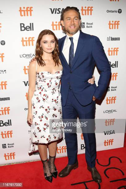 Jessica Barden and Charlie Hunnam attend the Jungleland photo call during the 2019 Toronto International Film Festival at Princess of Wales Theatre...