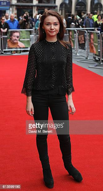 Jessica Barden attends the 'Mindhorn' World Premiere screening during the 60th BFI London Film Festival at Odeon Leicester Square on October 9 2016...