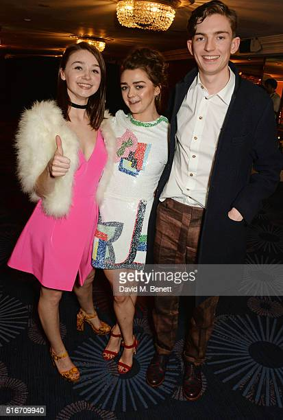Jessica Barden Maisie Williams and Bill Milner pose in the winners room at the Jameson Empire Awards 2016 at The Grosvenor House Hotel on March 20...