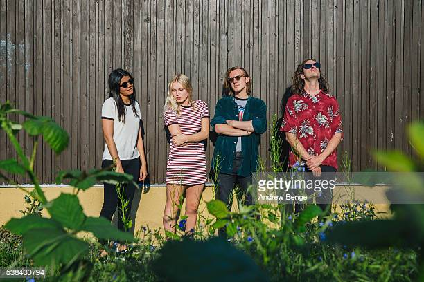 Jessica Batour, Alice Costelloe, Jesse Wong and Kacey Underwood of Big Deal pose outside Brudenell Social Club on June 6, 2016 in Leeds, England.