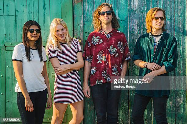 Jessica Batour, Alice Costelloe, Kacey Underwood and Jesse Wong of Big Deal pose outside Brudenell Social Club on June 6, 2016 in Leeds, England.