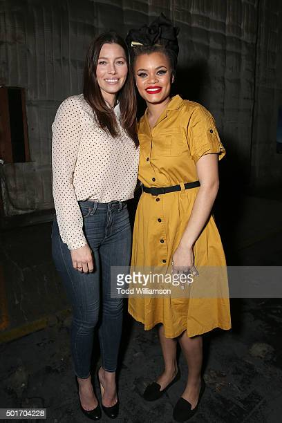Jessica Biel and Andra Day attend a Celebration of MERU Screening And Reception at RED Studios on December 16 2015 in Los Angeles California