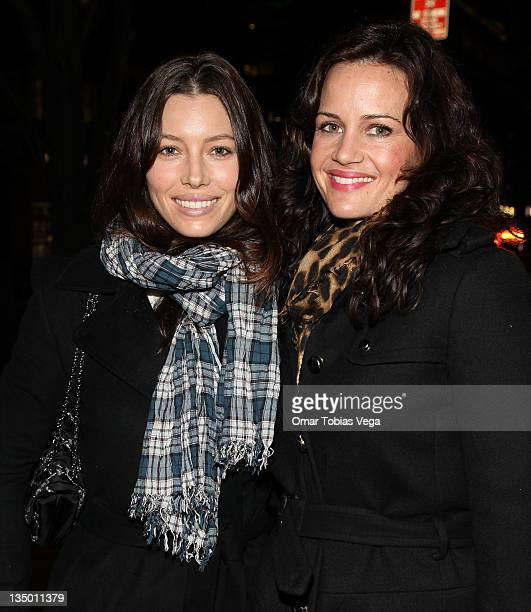 Jessica Biel and Carla Gugino seen after the curtain call for the opening night of 'Happy Hour' at the Signature Theater Company's Peter Norton Space...