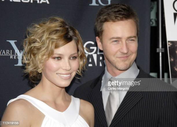 Jessica Biel and Edward Norton during The Illusionist New York Premiere Arrivals at Clearview Chelsea West in New York City New York United States
