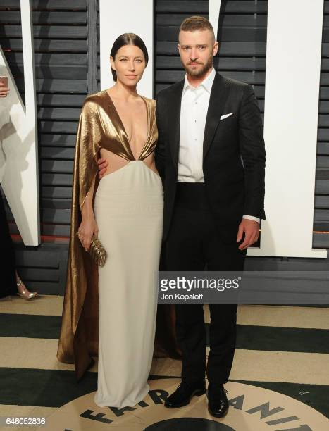 Jessica Biel and Justin Timberlake arrive at the 2017 Vanity Fair Oscar Party Hosted By Graydon Carter at Wallis Annenberg Center for the Performing...
