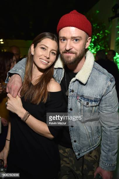 Jessica Biel and Justin Timberlake attend American Express x Justin Timberlake 'Man Of The Woods' listening session at Skylight Clarkson Sq on...