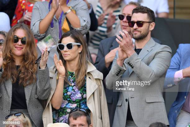 Jessica Biel and Justin Timberlake attend day eight of the Wimbledon Tennis Championships at the All England Lawn Tennis and Croquet Club on July 10...