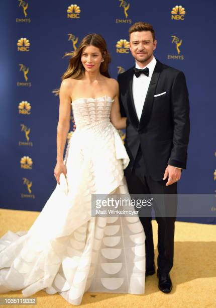 Jessica Biel and Justin Timberlake attend the 70th Emmy Awards at Microsoft Theater on September 17 2018 in Los Angeles California