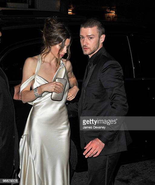 Jessica Biel and Justin Timberlake attend the Costume Institute Gala after party at the Mark hotel on May 3 2010 in New York City
