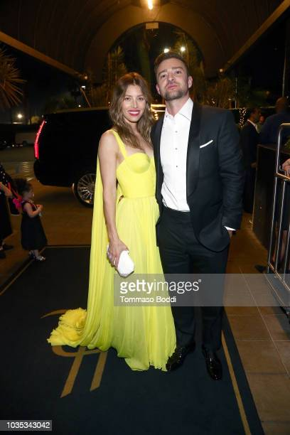 Jessica Biel and Justin Timberlake attend the Michael Che and Colin Jost's Emmys After Party presented by Google at Hollywood Roosevelt Hotel on...