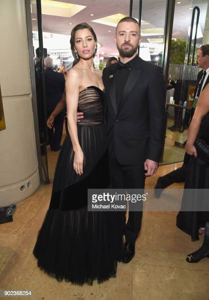 Jessica Biel and Justin Timberlake celebrate The 75th Annual Golden Globe Awards with Moet Chandon at The Beverly Hilton Hotel on January 7 2018 in...