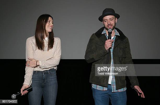 Jessica Biel and Justin Timberlake introduce the film MERU at a screening and reception at RED Studios on December 16 2015 in Los Angeles California