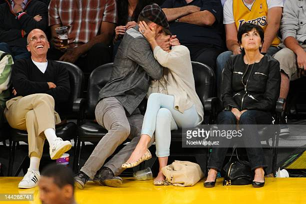 Jessica Biel and Justin Timberlake kiss at the Los Angeles Lakers and Denver Nuggets game 7 of the Western Conference Quarterfinals in the 2012 NBA...