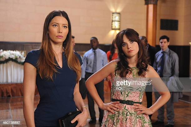 Jessica Biel and Zooey Deschanel in the 'The Last Wedding' season premiere episode of NEW GIRL airing Tuesday Sept 16 2014 on FOX