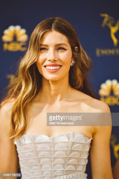 Jessica Biel arrives at the 70th Emmy Awards on September 17 2018 in Los Angeles California