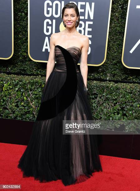 Jessica Biel arrives at the 75th Annual Golden Globe Awards at The Beverly Hilton Hotel on January 7 2018 in Beverly Hills California