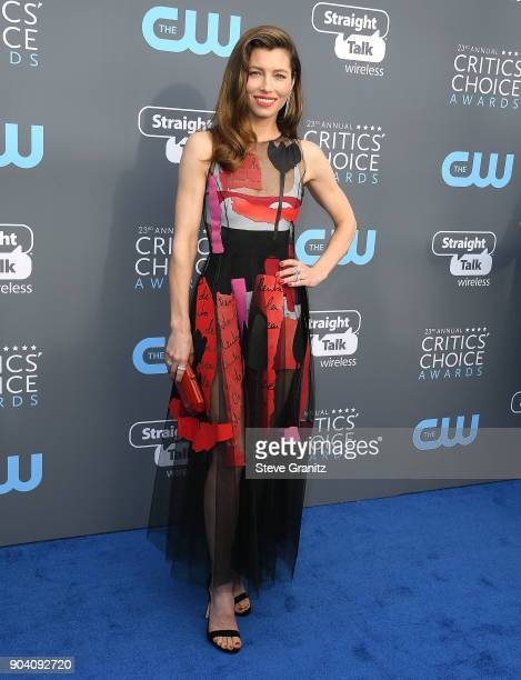 Jessica Biel arrives at the The 23rd Annual Critics' Choice Awards at Barker Hangar on January 11 2018 in Santa Monica California