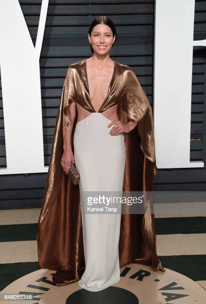 Jessica Biel arrives for the Vanity Fair Oscar Party hosted by Graydon Carter at the Wallis Annenberg Center for the Performing Arts on February 26...