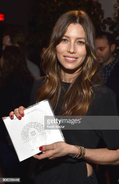 Jessica Biel attends American Express x Justin Timberlake 'Man Of The Woods' listening session at Skylight Clarkson Sq on January 16 2018 in New York...