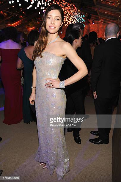 Jessica Biel attends the 2014 Vanity Fair Oscar Party Hosted By Graydon Carter on March 2 2014 in West Hollywood California