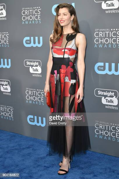 Jessica Biel attends The 23rd Annual Critics' Choice Awards Arrivals at The Barker Hanger on January 11 2018 in Santa Monica California