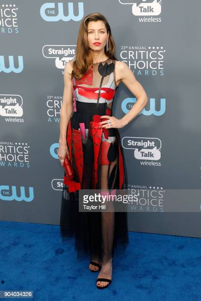 Jessica Biel attends the 23rd Annual Critics' Choice Awards at Barker Hangar on January 11 2018 in Santa Monica California