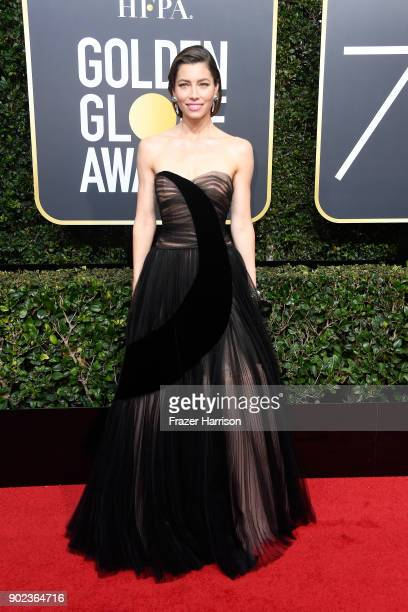 Jessica Biel attends The 75th Annual Golden Globe Awards at The Beverly Hilton Hotel on January 7 2018 in Beverly Hills California