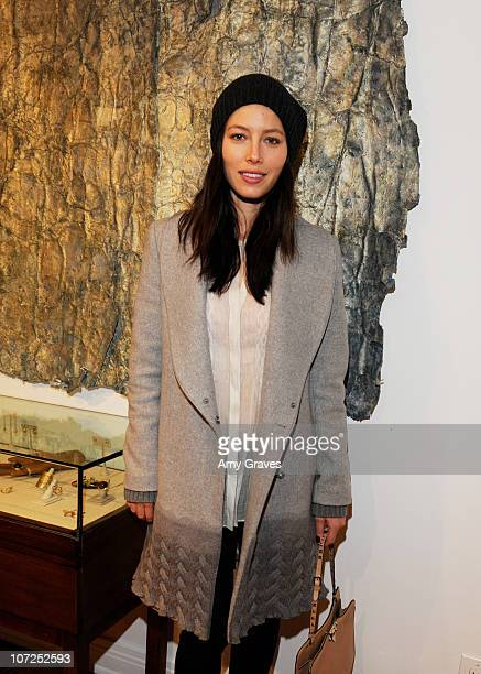 Jessica Biel attends the Charlotte Bjorlin Delia Jewelry Show and Manfred Menz Art Show at Roseark on December 1, 2010 in West Hollywood, California.