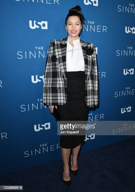 """Jessica Biel attends the premiere of USA Network's """"The Sinner"""" Season 3 at The London West Hollywood on February 03, 2020 in West Hollywood,..."""