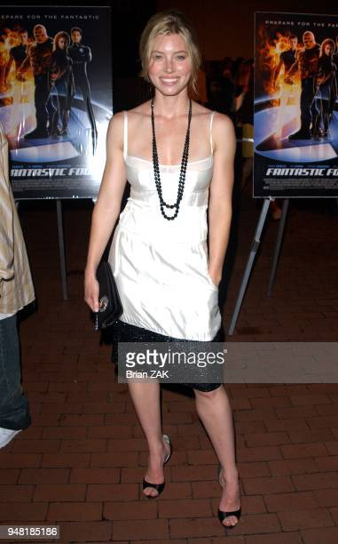 Jessica Biel attends the world premiere of 'Fantastic Four' on Liberty Island New York City BRIAN ZAK