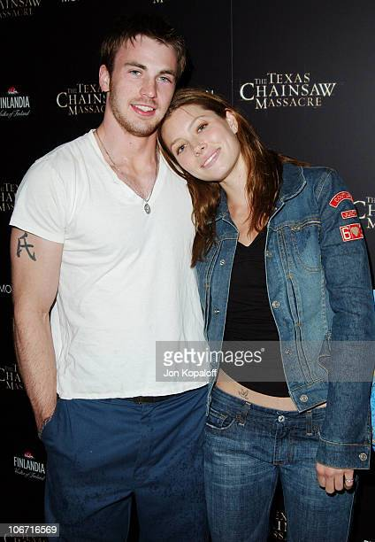 Jessica Biel Chris Evans during The Texas Chainsaw Massacre Halloween Party At The Mondrian Hotel at Sky Bar At The Mondrian Hotel in West Hollywood...