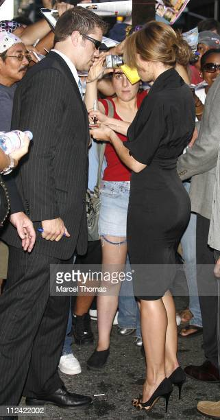 Jessica Biel during Christina Aguilera and Jessica Biel Stop by 'The Late Show with David Letterman' August 16 2006 at The Ed Sullivan Theater in New...