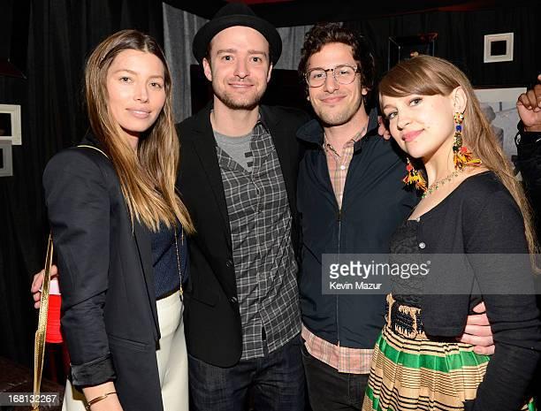 Jessica Biel, Justin Timberlake, Andy Samberg and Joanna Newsom backstage after MasterCard Priceless Premieres presents Justin Timberlake at Roseland...