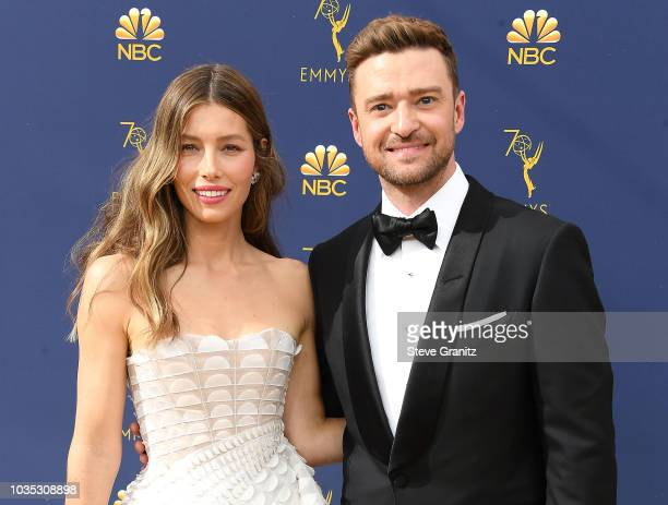Jessica Biel Justin Timberlake arrives at the 70th Emmy Awards on September 17 2018 in Los Angeles California