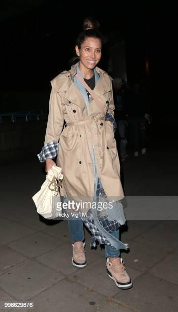 Jessica Biel seen seen arriving at Embankment Pier on July 11 2018 in London England
