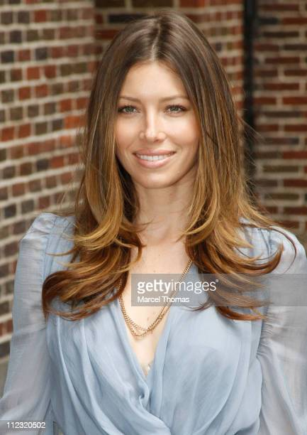 """Jessica Biel visits """"Late Show With David Letterman"""" at Ed Sullivan Theater on June 7, 2010 in New York City."""