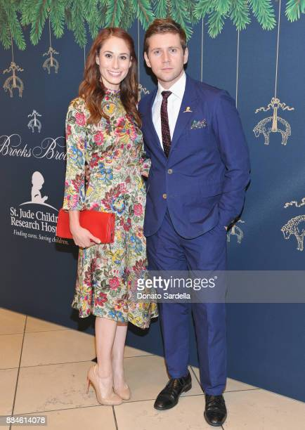 Jessica Blair Herman and Allen Leech attend the Brooks Brothers holiday celebration with St Jude Children's Research Hospital at Brooks Brothers...