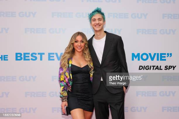 """Jessica Blevins and Tyler """"Ninja"""" Blevins attends the World Premiere of 20th Century Studios' Free Guy on August 03, 2021 in New York City."""