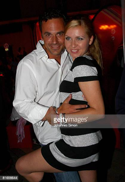 Jessica Boehrs and boyfriend Marcus Gruesser attend the 'Wir lieben Kino Director's Cut' at the Praterinsel on June 21 2008 in Munich Germany