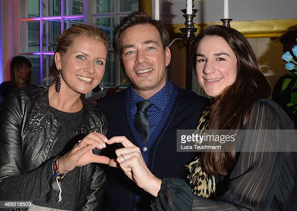 Jessica Boehrs Jan Sosniok and Nadine Moellers attend the Blaue Blume Awards during 64th Berlinale International Film Festival on February 14 2014 in...