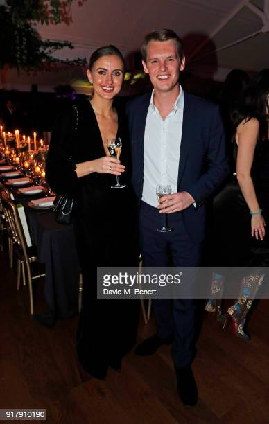 Jessica Bradley and David Tollemache attend a Valentine's dinner at The Living Room Champagne and Cocktail Bar by PerrierJouet at Restaurant Ours on...