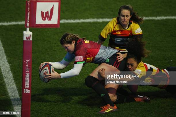 Jessica Breach of Harlequins Ladies scores her second try during the Tyrrells Premier 15s match between Harlequins Ladies and Richmond Ladies at...