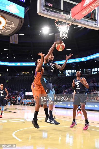 Jessica Breland of the Atlanta Dream gets the rebound against the Phoenix Mercury on July 8 2018 at McCamish Pavilion in Atlanta Georgia NOTE TO USER...