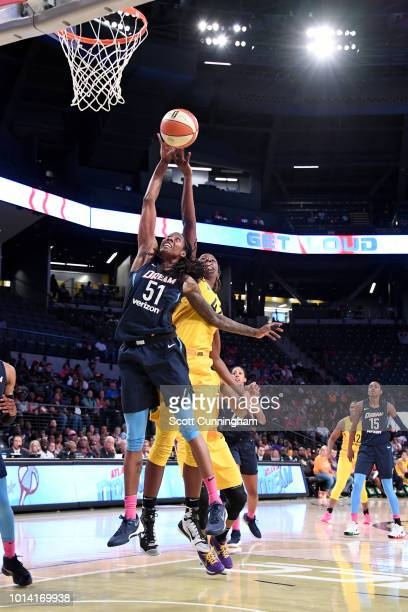 Jessica Breland of the Atlanta Dream goes for a rebound against the Los Angeles Sparks on August 9 2018 at the McCamish Pavilion in Atlanta Georgia...