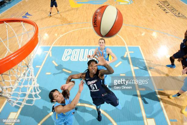 Jessica Breland of the Atlanta Dream goes for a rebound against the Chicago Sky on June 27 2018 at Wintrust Arena in Chicago Illinois NOTE TO USER...