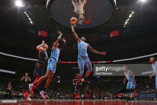 Jessica Breland of the Atlanta Dream grabs a rebound against the Washington Mystics on July 11 2018 at Capital One Arena in Washington DC NOTE TO...