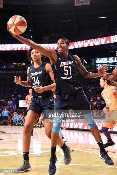 Jessica Breland of the Atlanta Dream grabs the rebound against the Phoenix Mercury on July 8 2018 at McCamish Pavilion in Atlanta Georgia NOTE TO...