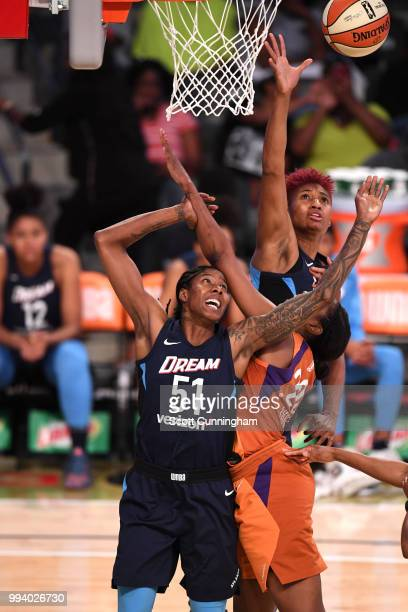 Jessica Breland of the Atlanta Dream reaches for the rebound against the Phoenix Mercury on July 8 2018 at McCamish Pavilion in Atlanta Georgia NOTE...