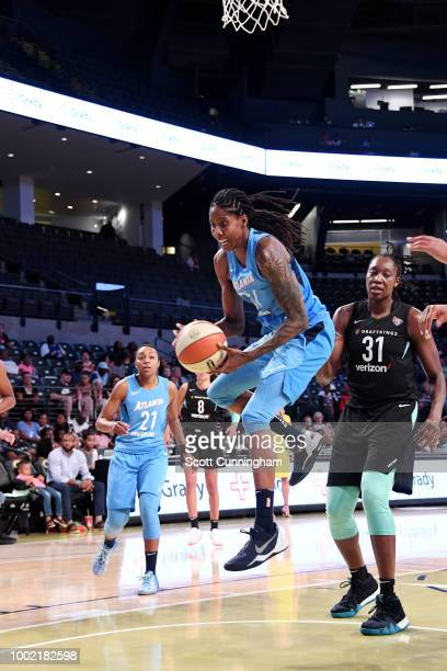 Jessica Breland of the Atlanta Dream rebounds the ball against the New York Liberty on July 19 2018 at McCamish Pavilion in Atlanta Georgia NOTE TO...