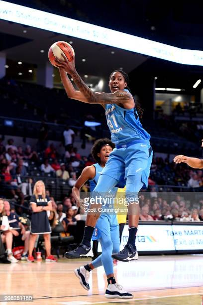 Jessica Breland of the Atlanta Dream rebounds the ball against the Indiana Fever on July 13 2018 at McCamish Pavilion in Atlanta Georgia NOTE TO USER...